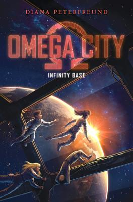 Omega City in red letters and red omega symbol behind Infinity Base in white underneath four kids in spacesuits floating inside spaceship with large windows looking at earth below and sun peeping behind dark blue space behind
