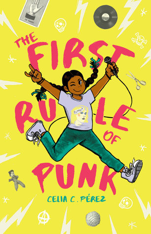 The First rule of punk bright purple letters across yellow background young girl in braids and tshirt and jeans with microphone jumping in middle images of record scissors yarn ball across back