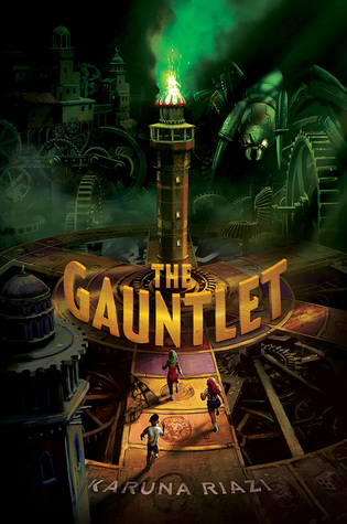 The Gauntlet orange letters wrapped arund tower in middle green fire on top three kids running towards giant cog wheels and minarets at back