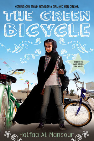 The Green Bicyclle letters written in white chalk outline on blue sky background young Arabic girl with black hijab and cloak in jeans bicycles next to her