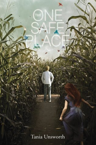 The one safe place white letters against sky the inside o in one corn field on sides boy in white shirt and grey pants facing the field girl in blue dress running towards him