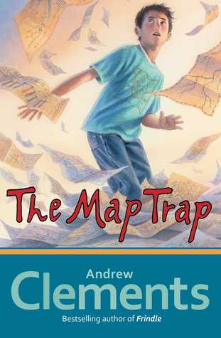 boy in blue t-shirt and jeans looking up as papers flying around him. The Map Trap in red letter below. Andrew Clements at bottom with blue background.