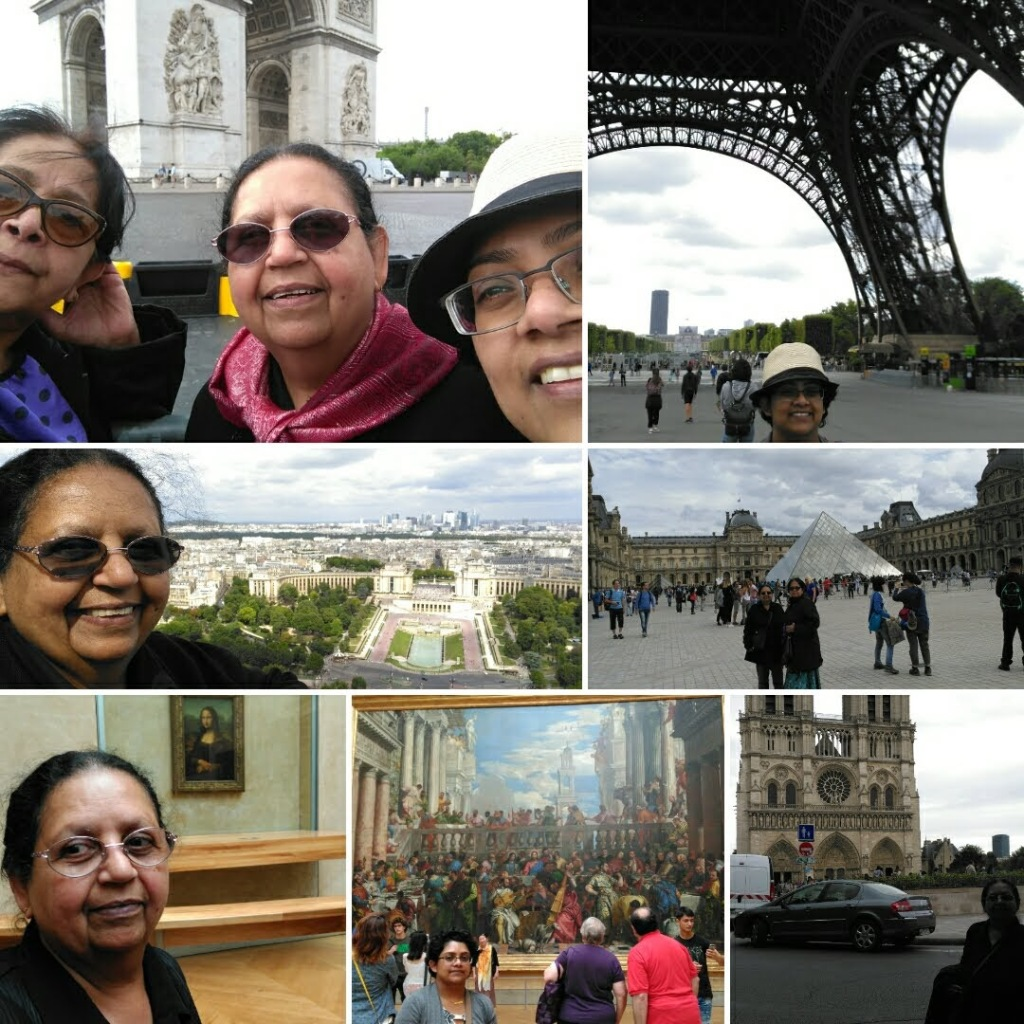 7 grid image. top left three women in front of Arc de Triumph. top right me under Eiffel Tower. middle left mum with Paris behind her. middle right people around front of Louvre. glass pyramid behind . bottom left mum with Mona Lisa. middle me in front of large painting. right mum in front of Notre Dame.