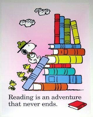 light purple background with cartoon image of books in pile. Snoopy dog from Peanuts with hat and bag walking along blue book to top of pile. three birds behind him with same hats. quote underneath reads Reading is an adventure that never ends.