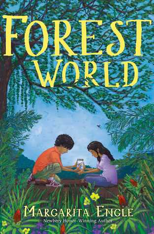 Forest World in yellow letters across branches of tree. below boy in orange tshirt and girl in purple tshirt hold glass jar. flowers in bushes below them.