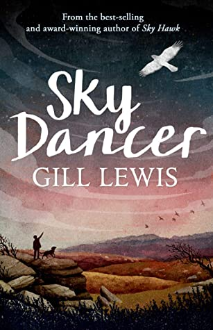 Sky dancer in white letters across middle of darkening sky. above white bird flying. below on top of hill boy pointing up with dog.
