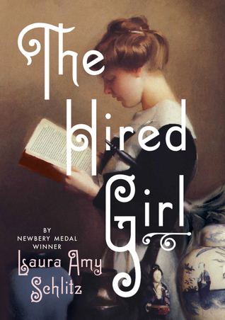 Young girl in black dress reading book in profile. porcelain figurine and vase at bottom right. light brown background. The Hired Girl in white letters across girl.