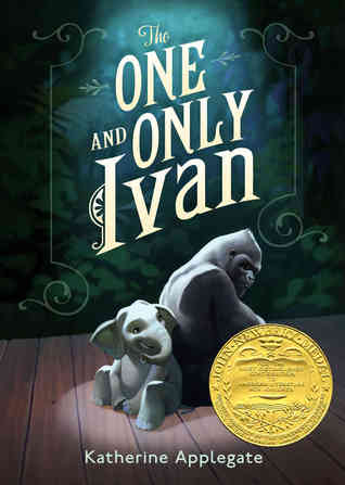 The one and only Ivan in large white letters on top with dark blue background. underneath on wooden floor gorilla and small elephant sitting with their backs to each other. white spotlight over them shining through title words. gold seal of Newbery Award on bottom right corner with Katherine Applegate below.