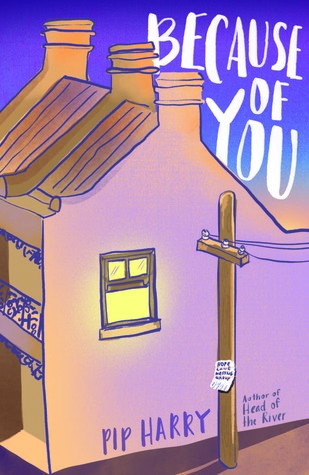 image of house fills up most of cover. top right corner along blue sky words in white, Because of You. light pole and window with light on large wall. along bottom edge of house Pip Harry in blue.