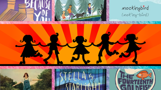 banner shaoed image. middle large image of five children in silhouette holding hands with orange sun behind them. top three images parts of book covers. top left part of roof and Because of You in white. top middle kids walking with dog in woods. top right blue sky and mockingbird in black. bottom left part of image of girl with arms outstretched. bottom middle white writing Stella by Starlight dark blue starry sky. bottom right bowl with orange goldfish and The Fourteenth Goldfish cramped under it.