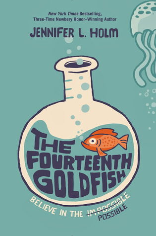 blue cover with large white beaker with vertical spout. inside orange goldfish blowing blue bubbles with writing cramped under it, The Fourteenth Goldfish. right top corner image of half of jellyfish like animal.