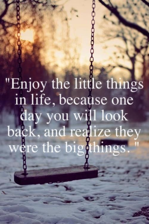 image of wintry day with trees in back and snow on ground with swing in middle. quote in white letters in middle above swing. 'Enjoy the little things in life, because one day you will look back, and realize they were the big things.'