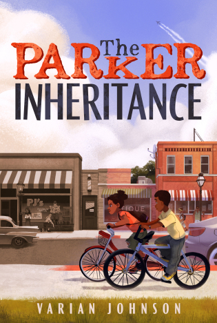 cover is image of street with shop fronts and blue sky above with clouds. Title letters in different colours and styles. 'The' in smaller size above K in Parker in blue. Parker in red letters. Inheritance in black/blue letters. boy and girl on bicycles on sidewalk. cars on road behind them. buildings on right side of image is in colour but from middle to left buildings and cars in black and white with distinct 1950's feel to it. Varian Johnson in white letters on bottom edge over green grass.