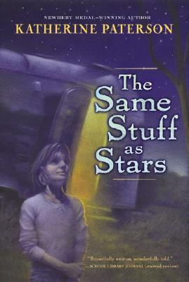 blue background to book cover. looks like night sky with stars. young girl standing under moonlight looking up to tree in right side. caravan with door open behind her. The Same Stuff as Stars in white letters.