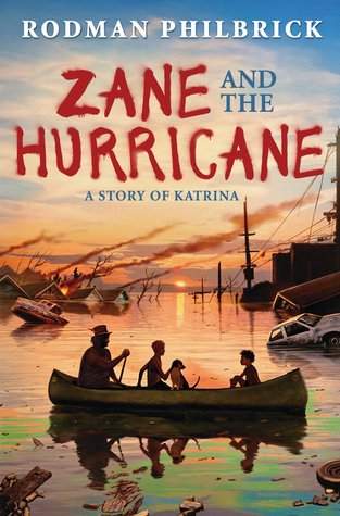 cover image of blue and wispy clouds in sky. Rodman Philbrick in white letters across top. Zane Hurricane in large red letters with And The in blue and smaller letters between them with sky in back. image underneath of floodwater submerged houses with roofs showing, tendrils of smoke rising from behind roofs. foreground image of canoe being paddled by man and two boys and dog.