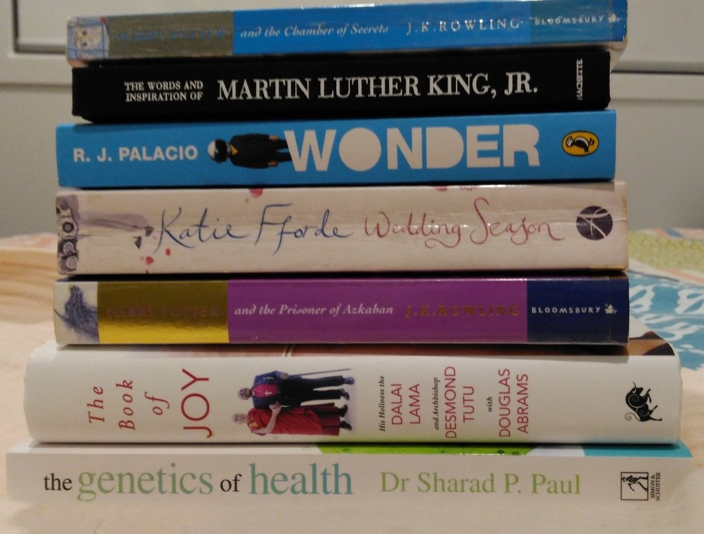 stack of six books on top of bed with window behind. colours of white, dark pink with gold, blue and black on spines of books. images of people and words along spine either horizontal or vertically spaced.