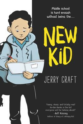 Cover image in two halves. left half is white background with image of dark-skinned boy with black hair in front. boy has blue sweater, backpack on one arm. holding book and writing in it. right side has black background with title 'New Kid' in large yellow letters and 'Jerry Craft' in white letters underneath.