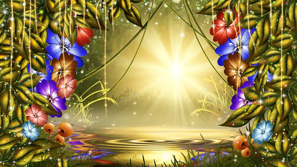 background image of yellow and green foliage of leaves around edges. green vines suspend from middle. bright light of yellow shines out from middle. blue, red, purple and brown flowers around opening in middle. lake with ripples and shadow of trees behind.