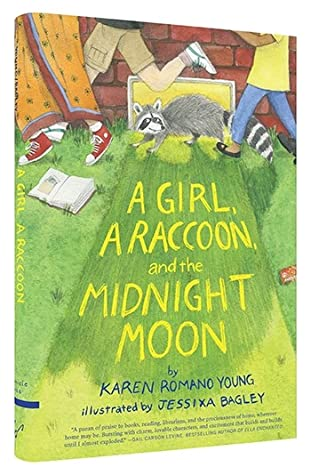 cover image of grass with yellow letters that read 'A girl, A raccoon, and the Midnight Moon.' images of three people running along top edge of image. small raccoon in middle.
