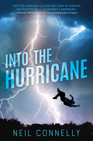 cover image of dark blue sky with dark clouds at top and bright white lightning strike in middle. image of boy thrown into air in middle. white letters across middle read Into the Hurricane.