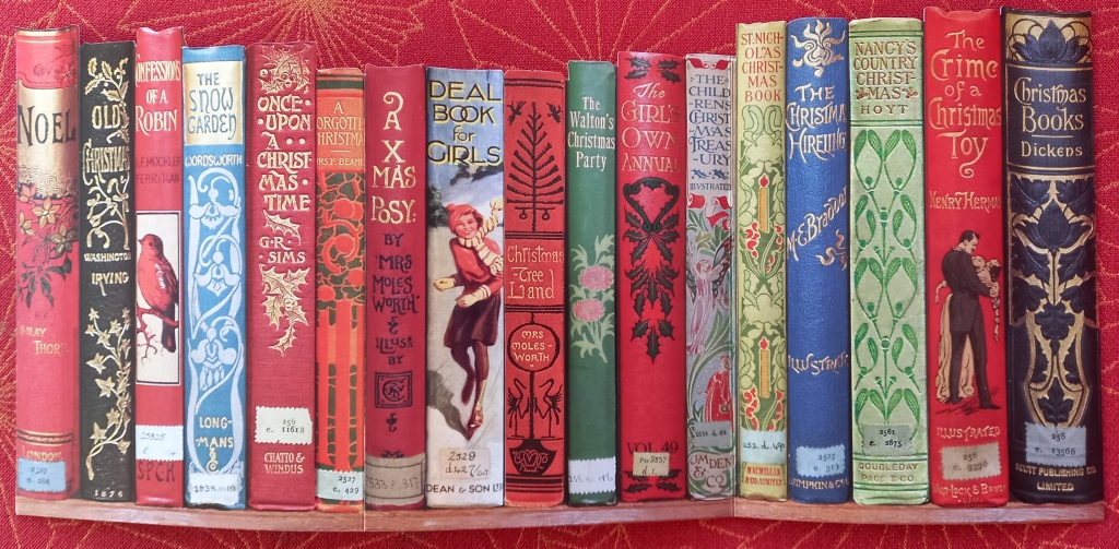 image of book spines together on red background in different sizes