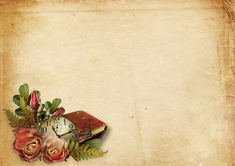 image has large light brown background with dark spots towards edges. bottom left edge has image of vintage clock nestled among roses and old book.