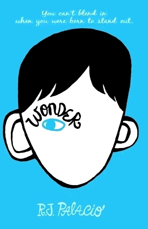 cover image of blue background with image of boy's head and-drawn inside. black hair with large-ish ears, one eye in light blue inside white face with word Wonder in black letters over eye.