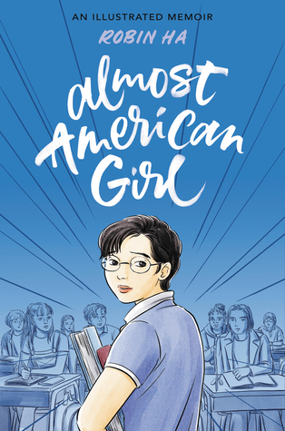 blue background with images of kids at desks at bottom. young girl in glasses and short hair at bottom middle holding books. white letters at top reads almost American Girl. black lines streaking towards point at back.