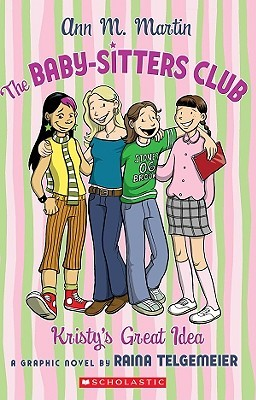 cover background has pink and green stripes. in middle stand four young girls with arms around each other all dressed in different clothes with smiles. title across the top reads in purple letters The Baby-Sitters Club.