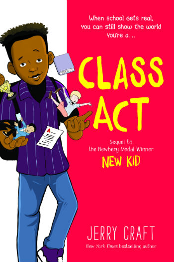image of young African American boy on left side throwing up books and images of kids. red block on right has yellow letters that read Class Act.