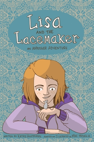 cover image has white lace pattern all around with blue background. in bottom is image of young girl with brown hair and purple jacket holding little mouse on hand. words in white at top read Lisa and the Lacemaker.