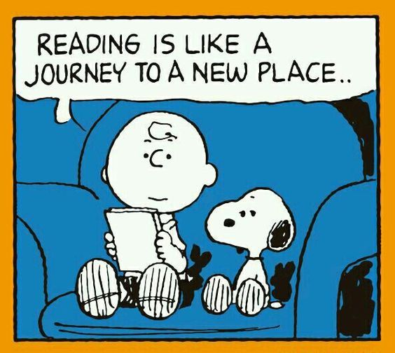 image of Charlie Brown and Snoopy on blue armchair looking at book. speech bubble reads Reading is like a journey to new place..