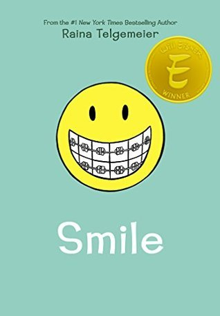 blue background with large yellow smiley face in middle. white teeth in face has braces. title underneath in white letters reads Smile. emblem of Eisner award on top right corner of smiley face.