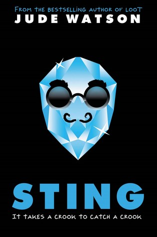black background with image of sparkly blue gemstone in middle with funny sunglasses on and small mustache. blue letters below read Sting and white letters under that read It takes a crook to catch a crook. white letters at top read Jude Watson.