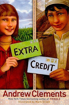 two different images. right image of girl standing in front of field holding green envelope with Extra. right side of boy in log shirt and small hat holding white envelope with Credit. red letters at bottom read Andrew Clements.