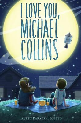 image of two kids sitting on ground with drinks on top of blanket looking up at large moon in dark blue sky. space shuttle in middle of moon. large letters read I love you, Michael Collins across moon. one girl and boy looking up.