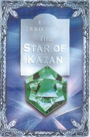 image of large diamond like stone of green colour in middle. blue background with ornate border around. light blue shape above diamond with white letters reads The Star of Kazan,