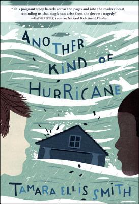 light blue and white streaks of waves across most of cover. image of house in middle and profiles of two boys on either side, one with fair skin and the other dark skin. blue and dark letters along waves above them read Another Kind of Hurricane.