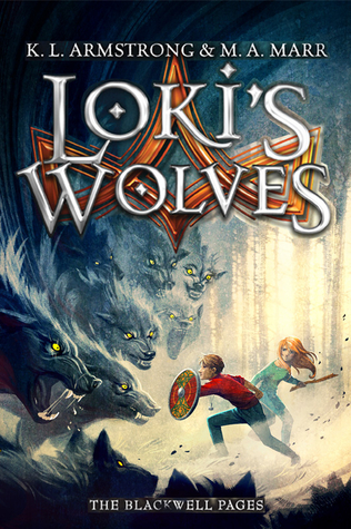 image of huge wolf pack about to attack two young kids holding shield and staff. red star-shape behind. large white letters at top read Loki's Wolves.