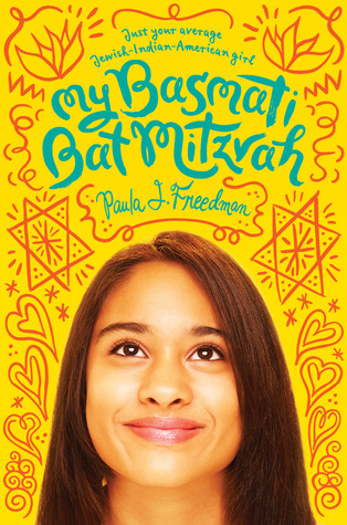 bright yellow background with image of young girl's face with smile. girl has dark long hair. above her in red is doodle images of stars, hearts, flowers and squiggles. blue letters at top in rounded form reads My Basmati Bat Mitzvah.