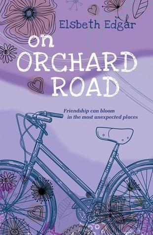 book cover is light purple in colour. hand drawn images of bicycle along bottom. flowers and heart shapes along top and bottom. big white letters in middle read On Orchard Road.