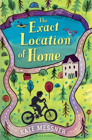 cover image of boy on bicycle riding along light grey road which circles around small house and blue lake towards top of cover. grass and trees surrounding. yellow letters inside lake reads The Exact Location of Home.