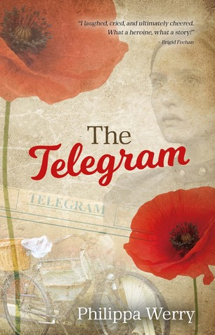 sepia-hued background with two large red poppies on top left and bottom right edges. faded images of young girl, newspaper headlines and bicycle behind. red and black letters in middle read The Telegram.