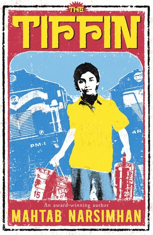 image of young boy holding canisters with bright yellow shirt and blue pants. faded blue shapes behind him look like trains. red background above images with yellow letters at top read The Tiffin.