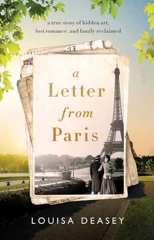 cover has image of landscape photo in background of Paris in modern day. in middle pile of old letters and postcard in black and shite of Eiffel Tower with two women by foot. green leaves around top edges. brown letters inside postcard image reads 'A letter from Paris.'