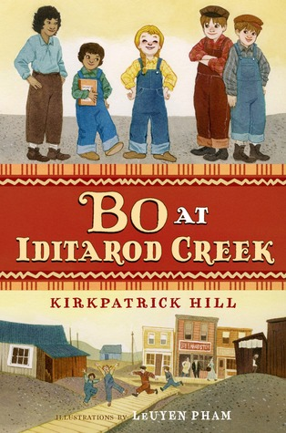 two images between brown strip with title. title reads Bo at Iditarod Creek. top image of young kids standing. four boys wither side of girl in dungarees with yellow hair. bottom image of town facade with kids running on boardwalk from big building in middle.