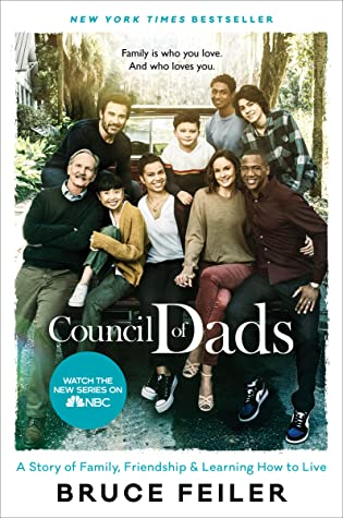 cover image has a large group of men, women and kids posing in front of vehicle. behind group looks like driveway with trees. white letters across bottom half reads 'Council of Dads'.