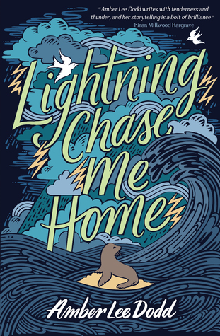 dark blue waves crashing with lightning strikes. image of small seal on rock in middle. large green letters across cover read 'Lightning Chase me home.' small white birds flying above letters.