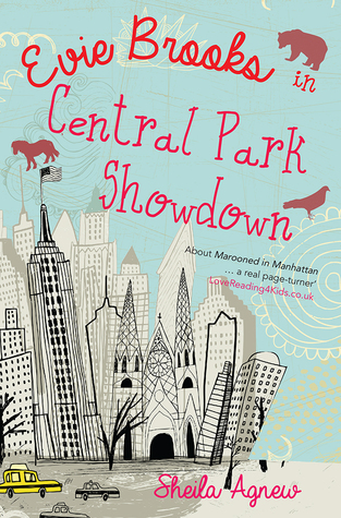 image of city buildings skyscrapers and trees and yellow cabs. blue sky has brown shapes of bear, horse and bird. pink letters at top read Evie Brooks in Central Park Showdown.