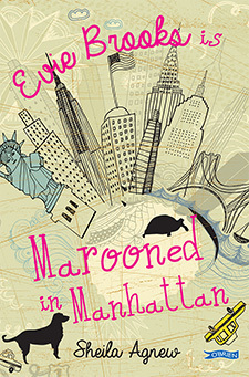 cover image looks like hand-drawn images of cityscape of New York. silhouette of dog and duck-billed platypus and yellow cab around pink letters in bottom which read 'Marooned in Manhattan, and along top 'Evie Brooks is'.